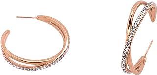 Bevilles Rose Stainless Steel Crystal Crossover Hoop Earrings