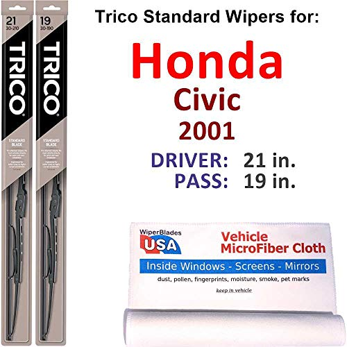 Wiper Blades Set for 2001 Honda Civic Driver/Pass Trico Steel Wipers Set of 2 Bundled with MicroFiber Interior Car Cloth
