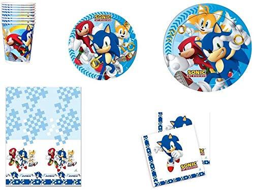 CAPRILO Lote de Cubiertos Infantiles Desechables Modern Sonic (8 Vasos, 8 Platos y 16 Servilletas y 1 Mantel) .Vajillas y Complementos. Juguetes y Regalos de Cumpleaños, Bodas, Bautizos y Comuniones.