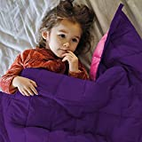 ZonLi Kids Weighted Blanket 7 lbs(41''x60'', Pink/Purple), Cooling Weighted Blanket for Children, 100% Cotton Material with Glass Beads