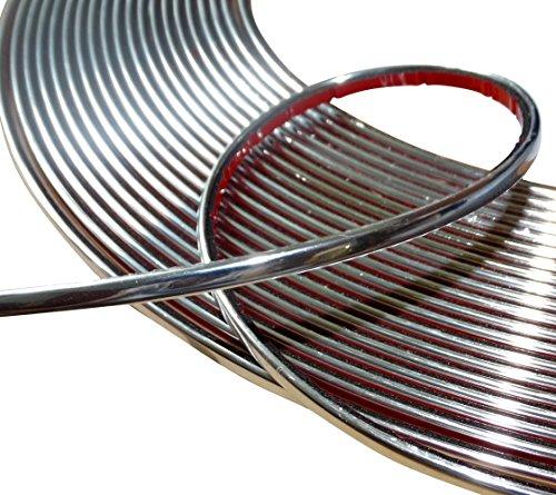 AERZETIX - Striscia adesiva per decorazione nichel cromo per auto colore argento 4mm 4.5m