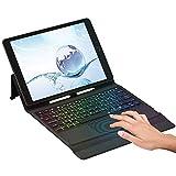 タッチパッドキーボード ケース iPad 10.2 2020 第8世代/2019 第7世代 対応 iPad Air3/iPad Pro 10.5 2017通用 Apple Pencil 収納可能 七色のバックライト オートスリープ タッチパッド付き ワイヤレス Bluetooth キーボードケース 軽量