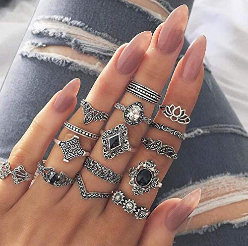 Dusenly 15pcs Women's Hollow Ring Bohemian Stacking Rings Black Vintage Joint Knuckle Rings Set for Women and Girls