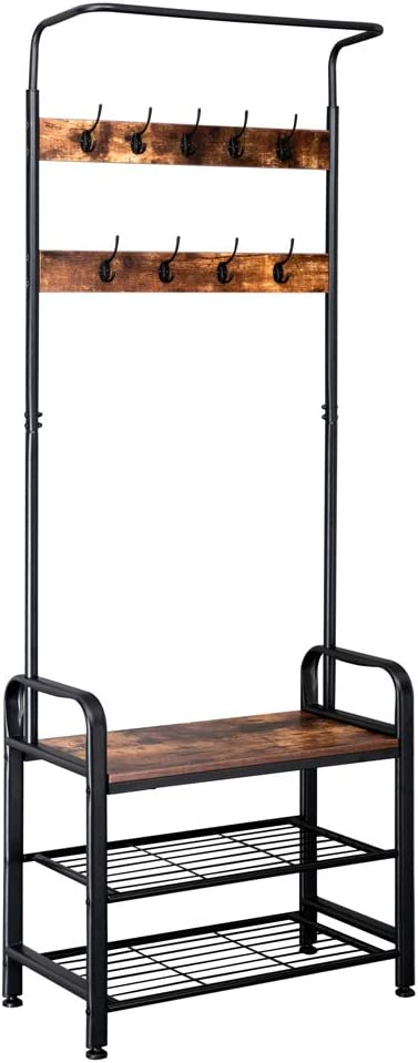 Lovinland Coat Rack with Shoes Bench Hall Storage Entryway Tree Max 70% Credence OFF