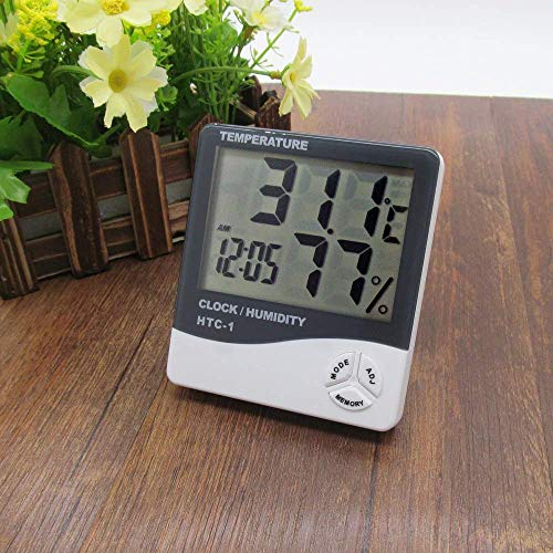Sharp choice Measurement Room Temperature Device Meter Humidity Monitor HTC-1 Incubator with Rest Stand and Accurate Indoor LCD Thermometer Display and Wall Mount Clock (White)