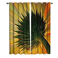 断熱カーテン、不透明な 3D グロメット ひまわり パターン 2 枚セット 断熱カーテン ウィンドウ装飾 キッチン ベッドルーム リビング ルーム 2 パネル-264 x 123 cm