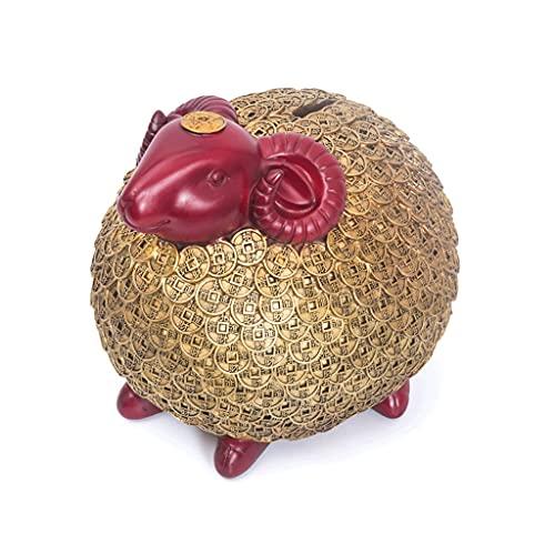 OUMIFA Hucha WANFU Lucky Pig Piggy Bank (auspicioso Cerdo de Oveja/Wanfu Pig) Material de Resina para Adultos Materiales y niñas Pueden Usar Dinero Caja Muebles para el hogar Banco de mo