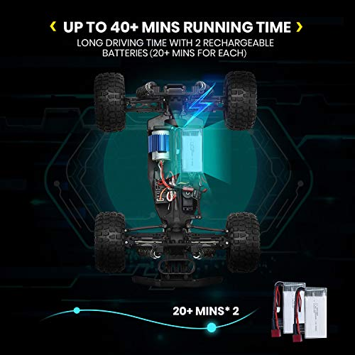 DEERC RC Cars 1:10 Scale Large High Speed Remote Control Car for Adults Kids, 48+ kmh 4WD 2.4GHz Off Road Monster Truck Toys, All Terrain Electric Vehicle Boy Gifts with 2 Batteries for 40+ Min Play