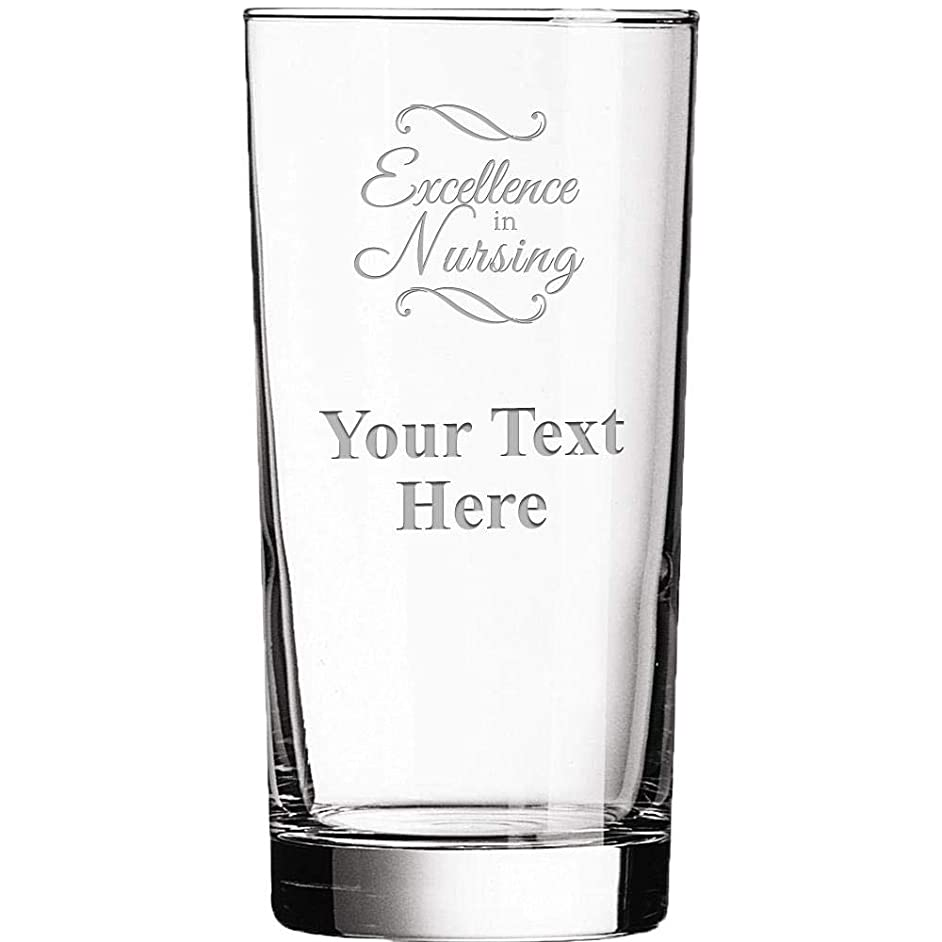 Personalized Glassware, 15.5oz Custom Engraved Excellence In Nursing Clear Glass Tumbler, Custom Drinkware Gifts Prime