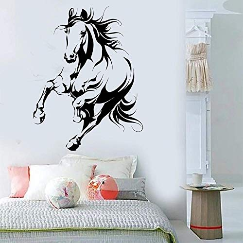 Wandaufkleber,Galoping Horse Wall Sticker Running Charger Vinyl Decal Animals Home Decor Accessories Removable Bedroom Living Room Decor-42X54Cm