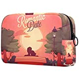 Romantic CardBolsa de maquillaje portátil Impresa neceser para cosméticos de viaje para mujeres