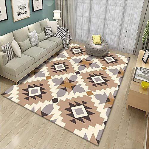 Alfombra Moderna Salon Alfombra contemporánea Salón marrón Plegable línea Cuadrada Durable Alfombra Anti-ácaros Marrón alfombras de Salon 80x120cm Alfombra Dormitorio Juvenil 2ft 7.5''X3ft 11.2''