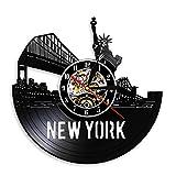 YINU New York Cityscape Reloj de Pared Exclusivo contemporáneo Decoración de...