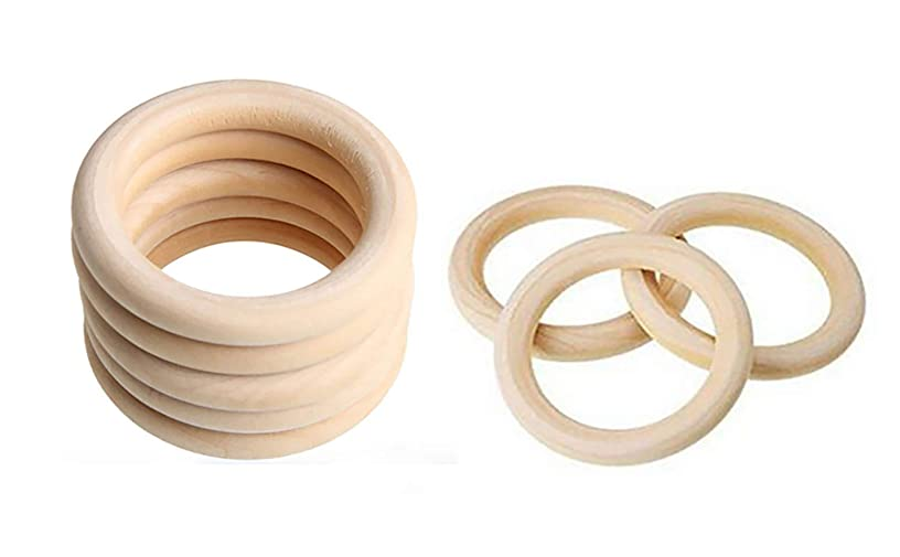 20 PCS Natural Unfinished Wood Rings Wooden Rings Circle Wood Pendant Connectors for DIY Craft Jewelry Making (Outer diameter-60mm)