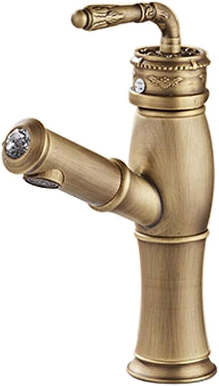 CHX Antike Wasserhahn Retro Bad Wc Warmen und Kalten Waschbecken Kunst Becken Pull Wasserhahn Europischen Becken Wasserhahn (gre   21cm)