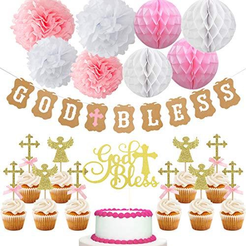 Kreatwow Taufdekoration für Mädchen, Aufschrift God Bless, Banner für Cupcake-Topper, für Mädchen, Taufe, Party-Dekorationen