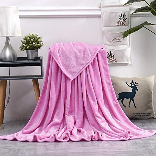 Manta para Cama y sofá Muy Suave,Flannel Plush Throw Blankets,Soft Coral Fleece Blanket,On Sofa Bed Travel Light Thin Solid Color Bedspread-A01_180x200cm