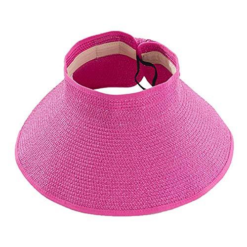 WT9 ala Ancha para Mujer Enrollar Sombrero De Paja para el Sol Sombrero con Visera Bowknot Sombrero de Paja de Verano Gorra de Playa UV UPF 50+ para Acampar al Aire Libre, Senderismo,10