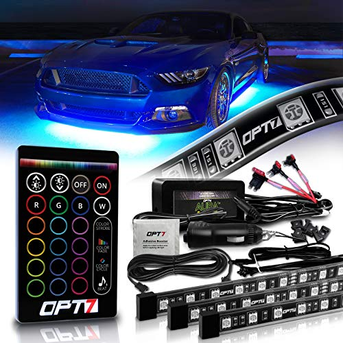 OPT7 Aura Underglow for Cars, 4pc Flexible LED Strip Lighting Kit (2 x 48 inch + 2 x 36 inch) w/Remote, Soundsync, Full-Color Spectrum, Exterior Under Glow Neon Light Kit for Trucks