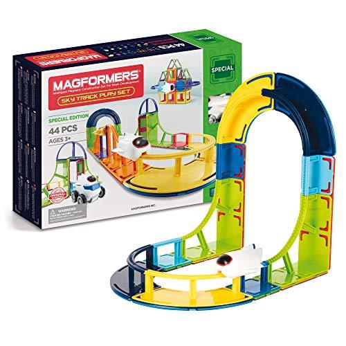 MAGFORMERS Magnetische Baussteine für Kinder ab 3 Jahre, Konstruktionsspielzeug Fuer Jungen und Mädchen mit Magnetfliesen, Pädagogisches Montessori Spielzeug, Flugzeug Set 44 Teile,