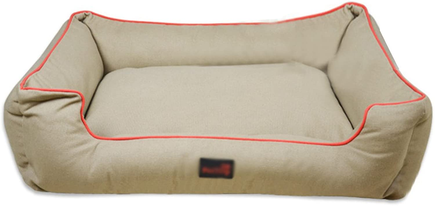 LvRao Pet House Bed Soft Breathable Dogs Cats Cushion Multifunctional Puppy Sofa Mat (Khaki, XL  100  80  20CM)