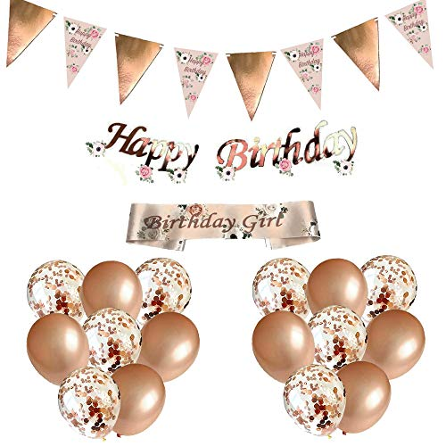 Blue Planet Fancy Dress Happy Birthday Decorations Rose Gold Floral Bunting Garland, Foil Banner, Sash, 16 Confetti Balloons for Women Girls Party No Age