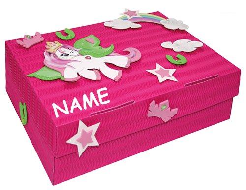 alles-meine.de GmbH Bastelset Schulbox / Kreativbox - incl. Name - Pony Pferd Mädchen - Schule Basteln Malbox für Kinder / Zeichenbox Schachtel / Spielzeugkiste / Box