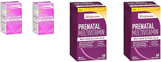 4 Pack Walgreens Prenatal Multivitamin (2 with DHA & Ginger 60 Softgels/ 2 with DHA & Folic Acid) Total 240