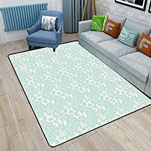 Mint Cute Area Rugs, Nostalgic Kids Pattern with Birth Baby Shower Children Footprint Motif Illustration Bedroom Carpets for Kid Nursery Girls Baby, 6'6″ x 9′ Seafoam White