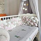 Braided Crib Bumper Handmade Baby Braided Knot Plush Crib Bumper Newborn Gift Liner Multifunctional Leg Pillow Stroller Cushion(6 Strands,Widening) Gray+White+Pink 157 inch