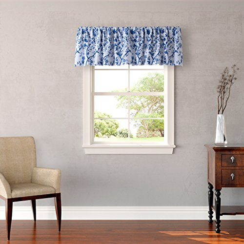 "Laura Ashley Home Charlotte Collection Stylish Premium Hotel Quality Valance Curtain, Chic Decorative Window Treatment for Home Décor, 86"" X 15"", China Blue"