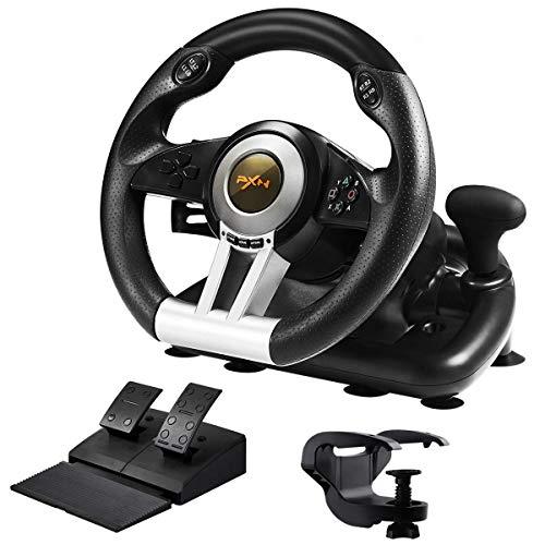 PXN-V3 PRO Competition Racing Volante y Pedales. Volante de Cuero con Palancas de cambio,efecto vibracion, para PC, PS3, PS4, Xbox One, Xbox Series X   S, Nintendo Switch