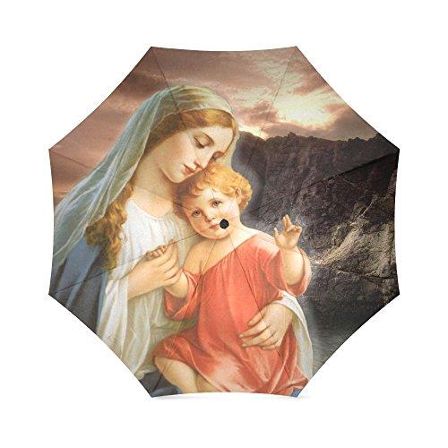 Geburtstag Geschenke/Weihnachten Day Gifts Christian religiöse Jungfrau mit Baby 100% Stoff und Aluminium faltbar Hochwertige Regenschirm