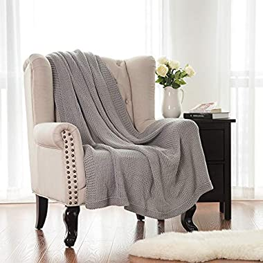Bedsure Knitted Throw Blanket for Sofa and Couch, Lightweight, Soft & Cozy Knit Throws - Gray, 50 x60