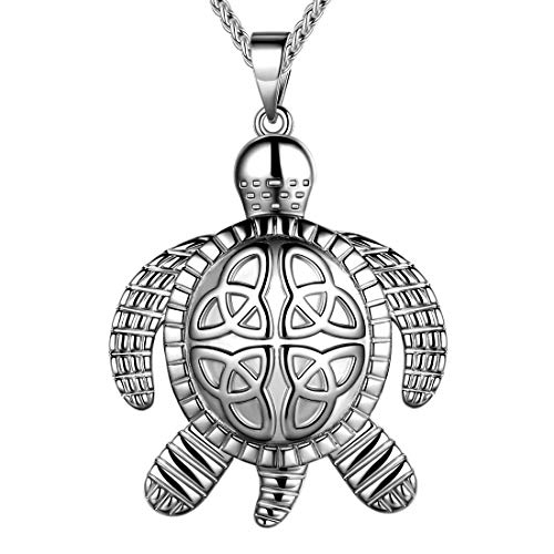 beautlace Turtle Necklaces Celtic Knot Pendant Silver Plated Animals Necklace Jewelry Gifts for Men and Women KP0063W