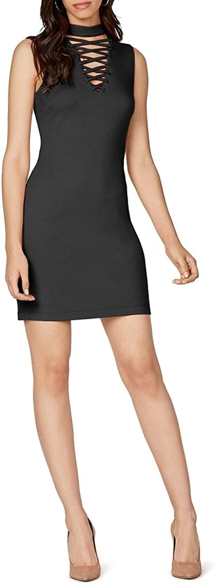 Bailey 44 Womens Lace Up Choker Neck Party Dress