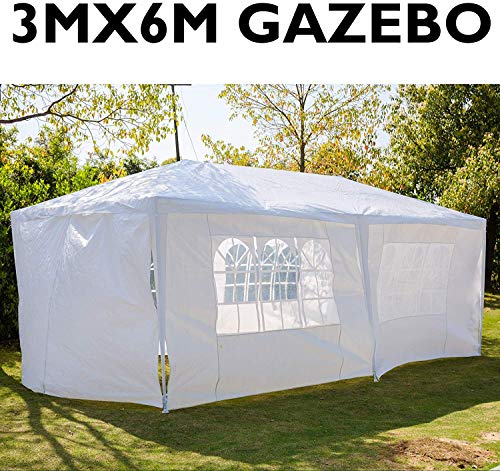 HYLH Gazebo 10ft x 20ft (3m x 6m) with Sidewalls Removable Side Waterproof Cover Steel Frame Powder Coated Awning Wedding Party Tent Instant Marquee - White