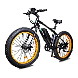 ECOTRIC Fat Tire Electric Bike Beach Snow Bicycle 26' 4.0 inch Fat Tire ebike 500W 13Ah 36V Electric Mountain Bicycle with Shimano 7 Speeds Lithium Battery (Orange)