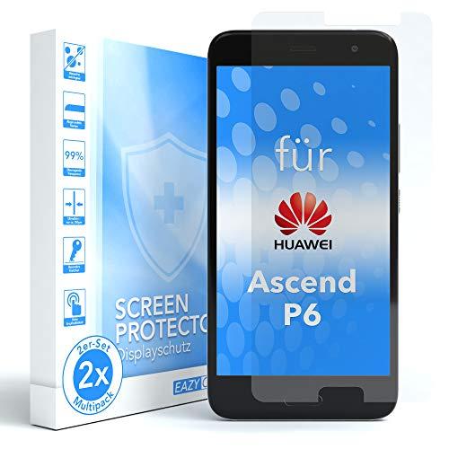 EAZY CASE 2X Panzerglas Bildschirmschutz 9H Festigkeit kompatibel mit Huawei Ascend P6, nur 0,3 mm dick I Schutzglas aus gehärteter 2,5D Panzerglasfolie, Bildschirmschutzglas, Transparent/Kristallklar