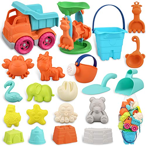 balnore Sandspielzeug für Kinder Junge Mädchen, 22 Stück Strandspielzeug Set in wiederverwendbarer Netzbeutel, Sandkasten Spielzeug mit Auto Eimer Sandförmchen Sandmühle und andere Werkzeuge