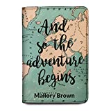 World Map Personalized Leather Passport Holder Cover - RFID Travel Wallet