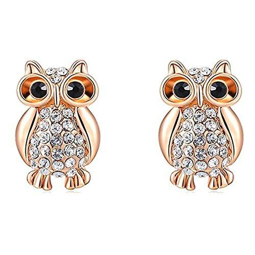 Daesar Women Earrings Rose Gold, Rose Gold Plated Earrings For Women Owl Cubic Zirconia Earring Rose Gold