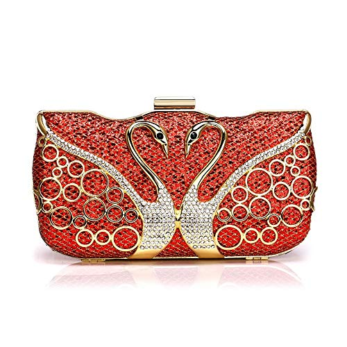 Cena señoras de la Moda del Vintage Bolsa, Taladro Incrustaciones-Swan Gama Alta Horizontal Cuadrada Bolsa, Plata/Oro/Azul/Rojo, 19x 5.5 x 10cm Bolsa de Honda (Color : Red)