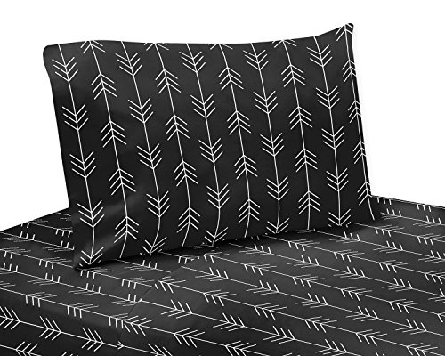 Sweet Jojo Designs Black and White Woodland Arrow Queen Sheet Set for Rustic Patch Collection 4 Piece Set