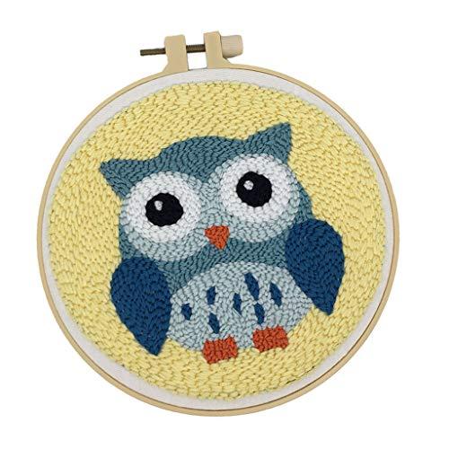 Sharplace Set Animal Punch Needle Kits avec Punch Embroidery Pen DIY Crafts - Hibou