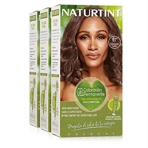 Naturtint Coloración 6.7 Chocolate Claro. Tinte sin Amoniaco. 100% Cobertura de canas e Hidratación. Ingredientes y Aceites Vegetales. Color Natural y Duradero. Pack de 3