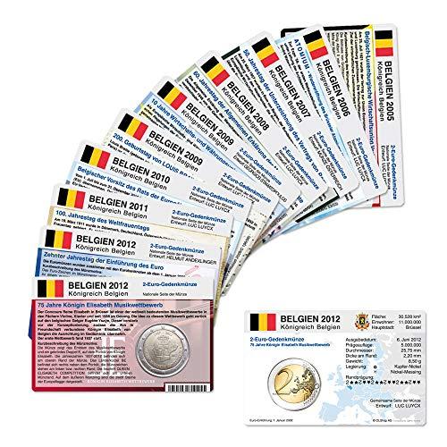 Set - alle Münzkarten (ohne Münze) Belgien für 2-Euro Gedenkmünzen, 10 Münzkarten 2005 bis 2012