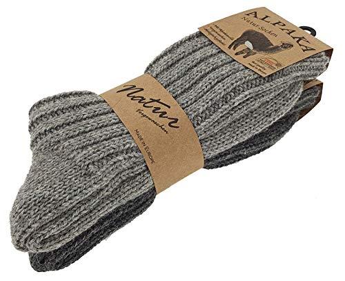 2er Pack Alpaka Socken Duo Unisex 43-46 Hellgrau/Dunkelgrau