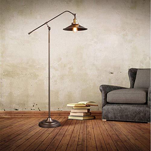 RSGK Metall-Stehlampe, industrielles Retro-Design, mit verstellbarem Kopf, Leselampe mit E27-Sockel, fürsorglichen Arbeitszimmer, Schlafzimmer und Büro