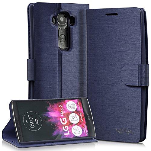 VENA LG G Flex 2 Funda Billetera [vSuit][Card Slot] Funda De Cuero con Soporte Plegable para LG G Flex 2 2015 (Azul Oxford)